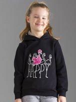 Czarna bluza dziewczęca z futrzanym kapturem                                  zdj.                                  1
