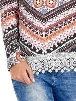 Czarna bluza w azteckie wzory z koronką                                  zdj.                                  5