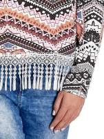 Czarna bluza w azteckie wzory z koronką z frędzlami                                  zdj.                                  5