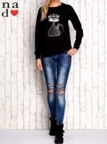 Czarna bluza z cekinowym kotem                                  zdj.                                  2