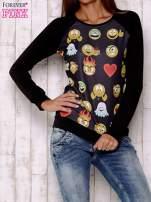 Czarna bluza z nadrukiem emotikonów                                                                          zdj.                                                                         1