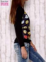 Czarna bluza z nadrukiem emotikonów                                                                          zdj.                                                                         3