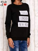 Czarna bluza z napisem PARIS LONDON NEW YORK                                  zdj.                                  3
