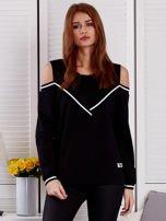 Czarna bluza z ukośnymi ściągaczami                                  zdj.                                  1