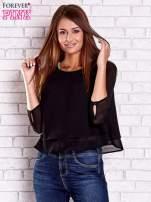 Czarna bluzka koszulowa z biżuteryjnym dekoltem                                                                          zdj.                                                                         3