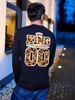 Czarna bluzka męska z moro nadrukiem z tyłu KING dla par                                  zdj.                                  1
