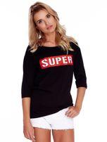 Czarna bluzka oversize z napisem SUPER                                   zdj.                                  1