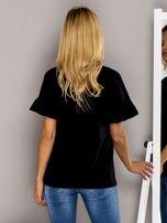 Czarna bluzka z falbanami na rękawach                                  zdj.                                  2