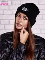 Czarna czapka beanie z diamentową naszywką                                                                          zdj.                                                                         1