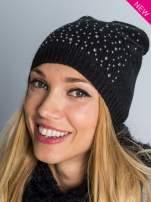 Czarna czapka beanie z dżetami perełkami                                  zdj.                                  2