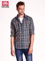 Czarna koszula męska w kratę z suwakiem