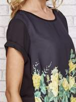 Czarna koszula z motywem kwiatów                                  zdj.                                  3