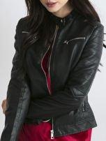 Czarna kurtka damska biker w motocyklowym stylu                                   zdj.                                  1