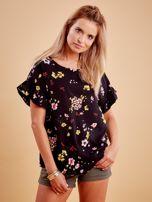 Czarna kwiatowa bluzka z falbanami na rękawach                                  zdj.                                  1