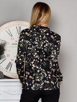 Czarna kwiatowa bluzka z wiązaniem                                   zdj.                                  2