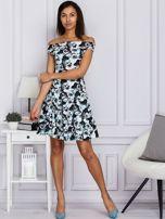 Czarna kwiatowa sukienka z rozkloszowanym dołem                                  zdj.                                  4