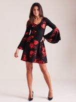 Czarna kwiatowa sukienka z rozszerzanymi rękawami                                  zdj.                                  4