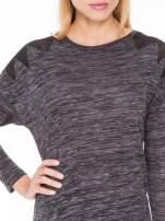 Czarna melanżowa bluzka z tiulowymi wstawkami na ramionach                                                                          zdj.                                                                         4
