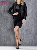 Czarna melanżowa sukienka ze złotymi guzikami                                                                          zdj.                                                                         3