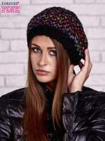 Czarna melanżowa włóczkowa czapka z mankietem                                  zdj.                                  1