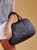Czarna pikowana torba z ekoskóry                                  zdj.                                  1