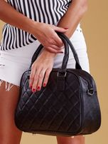Czarna pikowana torba z ekoskóry                                  zdj.                                  4