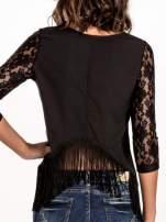 Czarna skórzana bluzka z koronką                                                                          zdj.                                                                         4