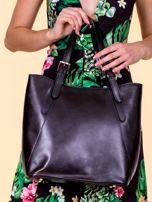 Czarna skórzana torba shopper bag                                  zdj.                                  1