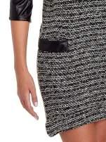 Czarna sukienka bouclé ze skórzanymi rękawami                                                                          zdj.                                                                         5