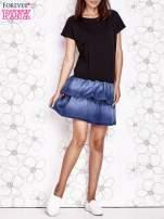 Czarna sukienka dresowa z jeansowym dołem                                  zdj.                                  5