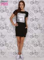 Czarna sukienka dresowa z napisem YOU WILL NEVER FORGET ME                                  zdj.                                  2