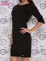 Czarna sukienka dresowa z suwakiem z tyłu                                  zdj.                                  3
