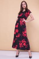 Czarna sukienka maxi w kwiaty                                  zdj.                                  1