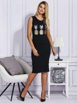 Czarna sukienka z ananasami                                  zdj.                                  4