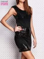 Czarna sukienka z aplikacją z koralików i cekinów                                  zdj.                                  3