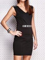 Czarna sukienka z biżuteryjnymi aplikacjami                                  zdj.                                  3
