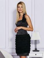 Czarna sukienka z bogato zdobioną spódnicą                                   zdj.                                  3
