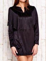 Czarna sukienka z frędzlami                                  zdj.                                  3