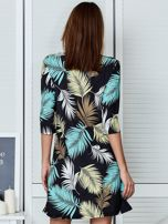 Czarna sukienka z motywem palmowych liści                                  zdj.                                  2