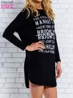 Czarna sukienka z napisem NEW YORK CITY