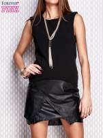 Czarna sukienka ze skórzanym wykończeniem                                  zdj.                                  3