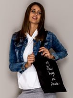 Czarna torba materiałowa MY OTHER BAGS ARE PRADA                                  zdj.                                  1