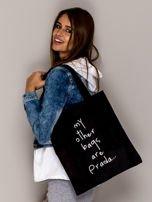 Czarna torba materiałowa MY OTHER BAGS ARE PRADA                                  zdj.                                  2