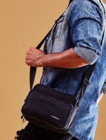 Czarna torba męska materiałowa z kieszeniami                                  zdj.                                  3