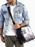 Czarna torba męska na ramię z motywem Londynu                                  zdj.                                  2