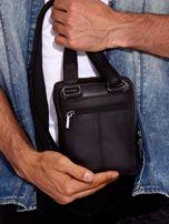 Czarna torba męska ze skóry naturalnej na ramię                                  zdj.                                  5