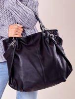 Czarna torba shopper z geometrycznymi modułami                                  zdj.                                  1