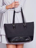 Czarna torba shopper z motywami skóry węża                                  zdj.                                  1