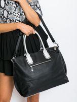 Czarna torba shopper z odpinanym paskiem                                  zdj.                                  5