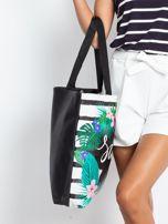 Czarna torba z egzotycznym nadrukiem                                  zdj.                                  9